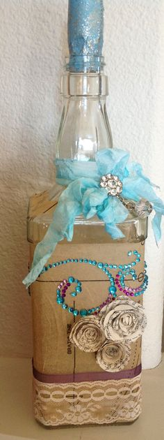 Upcycled Tiffany blue bottle