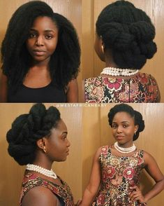 15 Stunning Versatile Updo Hairstyles On Natural Hair – LUSHFRO Unique and beautiful bridal updo hairstyles that show the versatility of natural hair. Type 4c Hairstyles, Elegant Hairstyles, African Hairstyles, Blonde Hairstyles, Beautiful Hairstyles, Layered Hairstyles, Shaved Hairstyles, Holiday Hairstyles, Hairstyles Haircuts