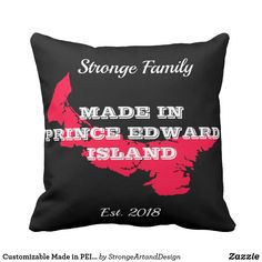 Customizable Made in PEI Throw Pillow - home gifts ideas decor special unique custom individual customized individualized Red Throw Pillows, Decorative Throw Pillows, Red Gifts, Home Gifts, Red Style, Maps, How To Make, Unique, Diy