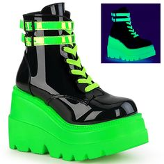 4 Wedge Platform Lace-Up Front Ankle Boot w/ Double Buckled Ankle Straps, Inside Zip Closure Green Ankle Boots, Lace Up Ankle Boots, Green Shoes, Leather Ankle Boots, Black Boots, Heeled Boots, Ankle Straps, Galaxy Converse, Grunge Style