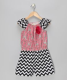 The perfect complement to any darling girl, this romper is a one-piece wonder with tons of charm. Contrasting prints, a fabric rosette and ruffle sleeves create an on-the-go girly look, while the elastic waistband, stretchy neckline and cotton fabric keep it comfy as can be. 100% cotton exclusive of decoration
