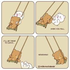 Milk and Mocha bear. Cute Bear Drawings, Cute Kawaii Drawings, Cute Couple Cartoon, Cute Love Cartoons, Cute Cartoon Wallpapers, Animes Wallpapers, Bear Gif, Cute Love Gif, Dibujos Cute