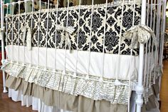 Shabby Chic Damask crib set by LottieDaBaby on Etsy, $425.00- so gorgeous, but no babies for me anymore, but the color scheme is cool