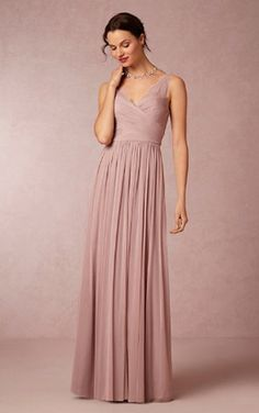 Column V-Neck Chiffon Long Blush Pink Bridesmaid Dresses UK Online