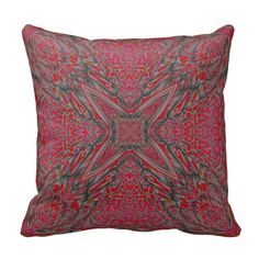 Red Gray Fractal Throw Pillow