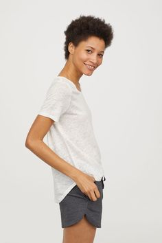 Linen Scoop-neck Top | Natural white | WOMEN | H&M US