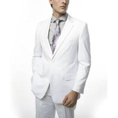 Verno Men's Slim Fit White Two Piece Suit, Size: 46R/40W
