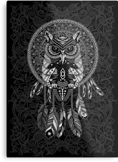 indian native Owl Dream catcher Metal Prints #Metal #Prints #MetalPrints #digital #colored #pencil #pattern #vintage #blackwhite #ravenclaw #hawk #eagle #animal #bird #tattoo #mayan #indian #americannative
