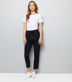 New Look Navy Polka Dot Drawstring Trousers