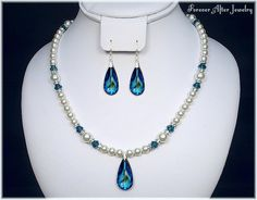 Bermuda Blue Peacock Wedding Jewelry Necklace and Earrings Set for the Bride or Bridesmaids - Discount on Multiple Sets. $78.00, via Etsy.