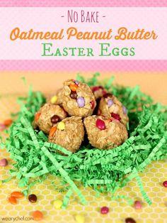 Oatmeal Peanut Butter Easter Eggs: A healthy, easy no-bake recipe! #easter #peanutbutter #nobake