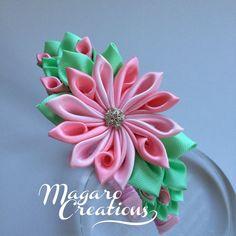 Pink headbandgirl headbandkanzashi by MagaroCreations on Etsy