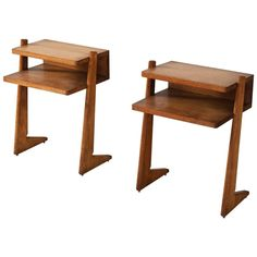 Pair of French Nightstands in Solid Oak | From a unique collection of antique…