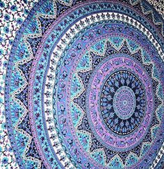 AmazonSmile - Large Indian Mandala Tapestry Hippie Hippy Wall Hanging Throw Bedspread Dorm Tapestry Decorative Wall Hanging, Picnic Beach Sheet Coverlet -: