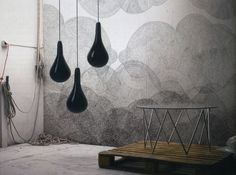 Minakani Wallpaper, pendants, gourmet tub chairs in the corner. couple with black dentist chair.