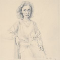 Willem de Kooning - Portrait of Elaine, pencil on paper, 12 x 11 inches Private collection Photo courtesy of Allan Stone Projects, New York Willem De Kooning, Cartoon Drawings, Pencil Drawings, Art Drawings, Drawing Faces, Jackson Pollock, Mondrian, Action Painting, Painting & Drawing