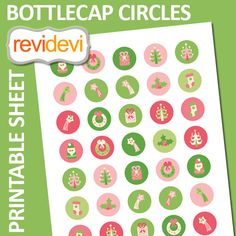 Christmas bottlecap images in pink lime. These  images are perfect   for  any  craft  projects such  as bottle cap    pendants, badge pin buttons,    glass   pebble magnets,  small cupcake    toppers, stickers, labels,  etc.