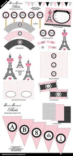 Conjunto París fiesta imprimible por SweetScarletDesigns en Etsy