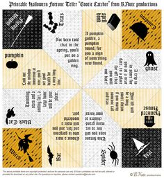 "Printable Halloween Fortune Teller ""Cootie Catcher"" from B Aute productions"