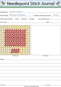 Mosaic Stitch - How to Work the Mosaic Stitch: Mosaic Stitch Journal Page