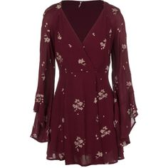 Free People Rayon Gauze Jasmine Embroidered Mini Dress ($111) ❤ liked on Polyvore featuring dresses, special occasion dresses, cat dress, evening dresses, purple evening dresses e holiday dresses