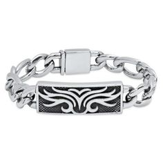 Stainless Steel Gothic ID Curb Link Bracelet, Silver