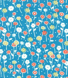 Keepsake Calico Fabric Flower With Stem All Over Turquoise