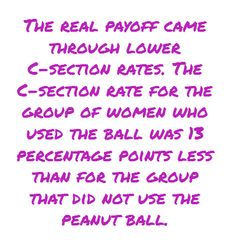 Peanut Ball for epidural laboring women can lower the Cesarean birth rate around 13 percentage points!!