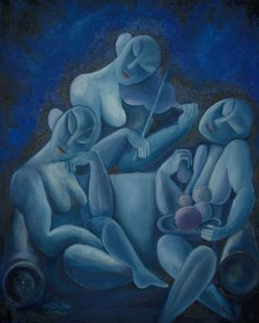 """""""Three Nudes and One Violin"""" - Pablo Picasso - Blue Period Kunst Picasso, Picasso Art, Picasso Paintings, Malaga, Kandinsky, Picasso Blue, Cubist Movement, Spanish Painters, Blue Art"""