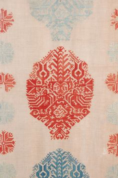 century Greek Bed Panel from Sarajo. Textile Fabrics, Textile Prints, Textile Patterns, Textile Design, Textile Art, Pretty Patterns, Color Patterns, Textile Texture, Surface Pattern
