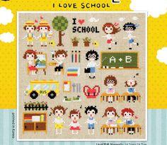 Modern cross stitch patterns and kits - I love School, school motifs, school samplers, learning samplers