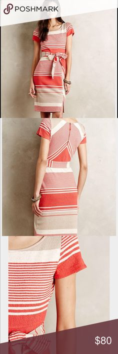 Anthropologie Lilka Dress- XS Anthropologie Sorella Dress By LILKA.                  Size XS- Worn Once- makes your body look amazing with its matierial.    Burnt Orangy-Red/Cream/Off White Anthropologie Dresses Midi