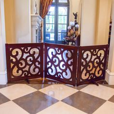 Your pet might need containing, but your décor won't be with the Primetime Petz Classic Designer 27 in. This stylish pet. Diy Dog Gate, Diy Baby Gate, Pet Gate, Doggie Gates, Freestanding Dog Gate, Gate Decoration, Barbie Dream House, Repurposed Furniture, Wood Construction