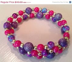 50% Off Sale Hot Pink and Purple beaded memory wire bracelet ready to ship