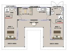 Shipping container house floorplan using 3 containers with 2 bedrooms