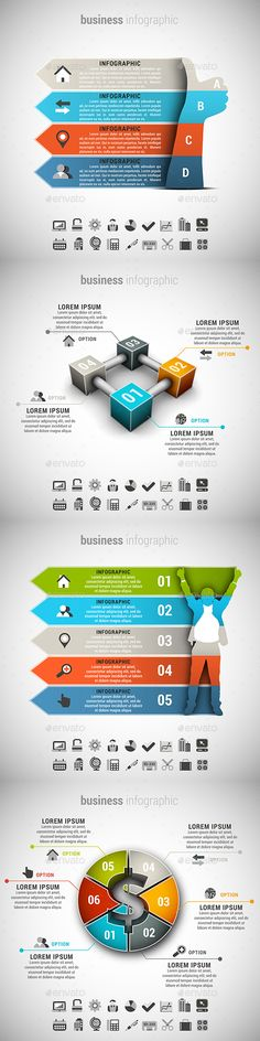 4 in 1 Business Infographics Bundle — Photoshop PSD #marketing #idea • Available here → https://graphicriver.net/item/4-in-1-business-infographics-bundle/15021285?ref=pxcr