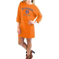 Gameday Couture  Clemson Tigers Perfect To A Tee Vintage Wash Dress ($55) ❤ liked on Polyvore featuring dresses, orange, orange dress, loose fit dress, loose dress, t shirt dress and orange t shirt dress