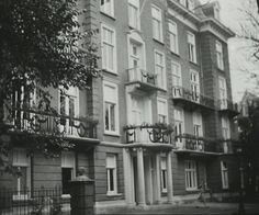 1940 - 1945. A view of the façade of the Boerhaave Kliniek at the Johannes Vermeerstraat in Amsterdam. During the German occupation the clinic was used as a maternity hospital of the German Nationalsozialistische Volkswohlfahrt (NSV), a social service of the Nazi's where unmarried Dutch women, pregnant with a German soldier, could find free medical care and give birth. In exchange for benefits, the women had to transfer their children to the NSV. #ansterdam #worldwar2 #BoerhaaveKliniek #NSV