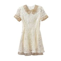 Paillette Collar Lace Beige Dress ($45) ❤ liked on Polyvore featuring dresses, vestidos, romwe, short dresses, lace dress, beige short dress, beige dress, short-sleeve dresses and zipper dress