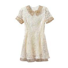 Paillette Collar Lace Beige Dress (310 HRK) ❤ liked on Polyvore featuring dresses, vestidos, romwe, short dresses, embellished dresses, short lace dress, embellished cocktail dress, lace dress and beige cocktail dress