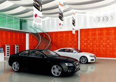 "Car showroom enhanced with ""Mosaic"" feature walls surrounding the area. Wall Panel Design, 3d Wall Panels, 3d Tiles, Gold Coast, Plank, Showroom, Modern, Feature Walls, Car"