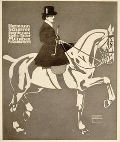 1913 advertisement by Ludwig Hohlwein for Hermann Scherrer, a sporting and ladies tailor of Munchen, Germany