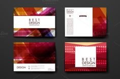 Set of Abstract Cards Templates Set of card templates in abstract style. Beautiful design and layout- Fully editable vector file s by Palau Pop Up Card Templates, Card Templates Printable, Stationery Templates, Stationery Set, Brochure Template, Design Templates, Wedding Brochure, Abstract Styles, Vector File