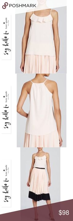 Kate Spade New York Ruffle Front Cami  Absolutely stunning Kate Spade New York Light pink Ruffle Front Cami 100% Viscose Spaghetti Straps Ruffle detail at front gathered back neck pleating at back DRY CLEANING ONLY  Imported  Please no trades or pp. Retail: $148 + Tax  Reasonable offers are welcome  Actual photo of top will be posted soon  kate spade Tops Camisoles