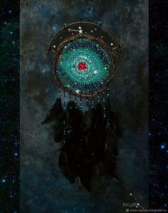 """Ловцы снов ручной работы. Ярмарка Мастеров - ручная работа. Купить Ловец снов """"Туманность Улитка/Helix Nebula"""". Handmade. Космос, ловец снов, туманность улитка, ловец сновидений, helix nebula, ловушка для снов, звезды, ловец снов оберег, вселенная, космический ловец снов, ловец снов космос, cyan, ловушка снов, aqua, ловцы снов, dreamcatcher, цвет морской волны, ловец, бирюзовый ловец снов, ngc 7293."""