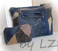 Купить Джинсовая сумка с косметичкой ДЕНИМ 18 - разноцветный, джинсовая сумка, джинсовая косметичка