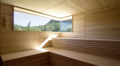 Sauna window (would want lower) & seating & wood styling Sauna House, Sauna Room, Modern Saunas, Outdoor Sauna, Finnish Sauna, Modern Farmhouse Interiors, Indoor Swimming Pools, Scandinavian Home, Cabins In The Woods