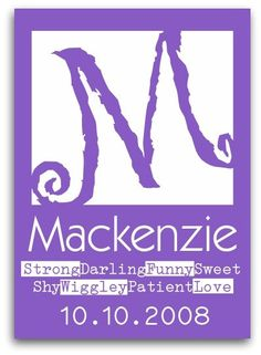 """Mackenzie Children's Wall Art Print personalized. Our kids are special and unique! Choose 8 words from my *Words of Affirmation* list (see picture 4) or list. Etsy seller - DoodleGraphics - $16.00 NOTE - I couldn't help myself...I just had to pin this print. I loved it because it's SPELLED """"correctly.""""  :0 )  <3 U...Mom"""