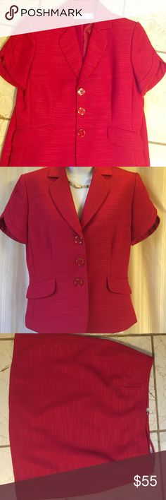 """Tahari Red suit jacket with skirt Never worn. New without tag. Skirt is 16""""inches long. Tahari Jackets & Coats"""