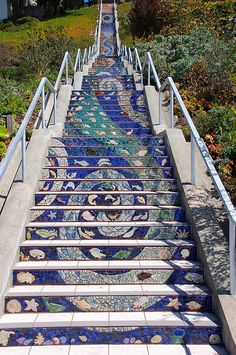 """See 799 photos and 50 tips from 3793 visitors to Golden Gate Heights Mosaic Stairway. """"A hidden gem within SF. Tile Art, Mosaic Art, Mosaic Glass, Mosaic Tiles, Mosaic Stairs, Outdoor Art, Outdoor Living, Stair Art, Mosaic Madness"""